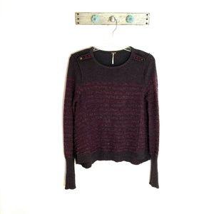 Free People L Purple Striped Fuzzy Angora Sweater